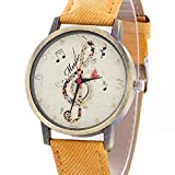 Fashion Clearance Watch! Noopvan Womens Quartz Watches,Musical Notes Pattern Unique Analog Lady Watches Female Watches on Sale Casual Wrist Watches for Women Faux Leather Watch-H99 (Yellow)