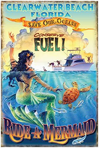 Ride a Mermaid Clearwater Beach Florida Travel Art Print Poster by Jim Mazzotta (24