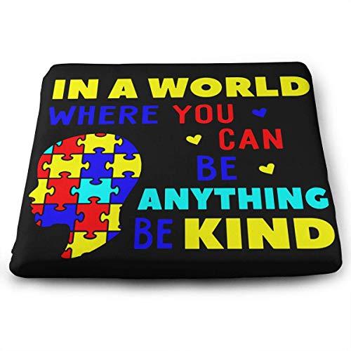 (B. Bone Seat Cushion for Office Chair, Autism Awareness Puzzle Home Office Decoration Square Seat Cushion Seat Chair Pad for Truck Driver,Kitchen Chairs,Car,Office)
