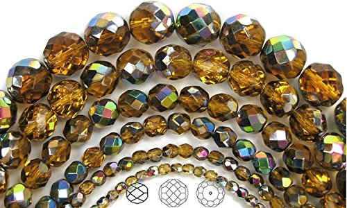(8mm (51 beads) Topaz Vitrail coated, Czech Fire Polished Round Faceted Glass Beads, 16 inch strand)