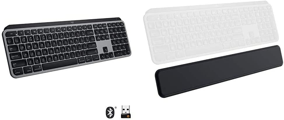 Logitech MX Keys Advanced Illuminated Wireless Keyboard for Mac - Bluetooth/USB with Logitech MX Palm Rest - Black