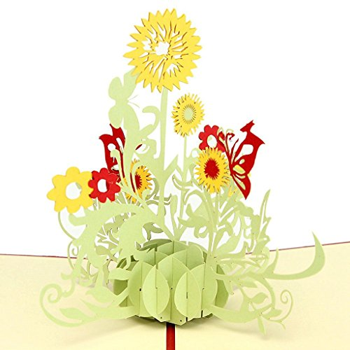 IShareCards Handmade 3D Pop Up Thank You Cards With Envelopes Greeting Cards Flower (LDsunflower)