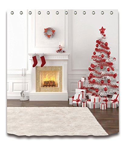 LB Merry Christmas Season Eve New Year Decorative Decor Gift Shower Curtain Polyester Fabric 3D Digital Printing 60x72'' Mildew Resistant White House Fireplace Red Tree Balls Bathroom Bath Liner Set by LB™<p><B>See More Click Here</B>