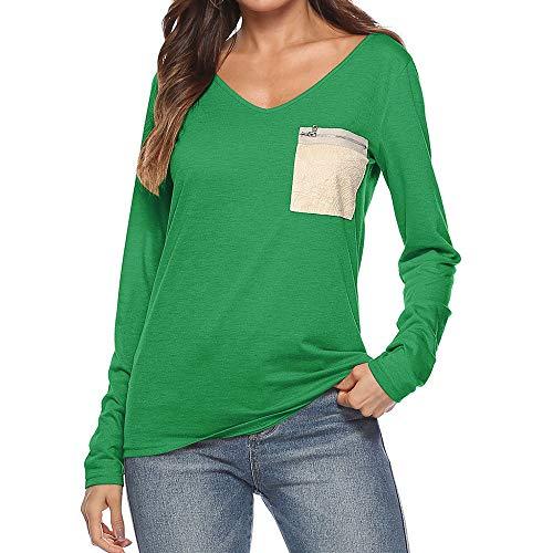 メルボルンメディック情緒的Plojuxi Tシャツ レディース 長袖 ポケット vネック 無地 創意デザイン トップス ブラウス カットソー おしゃれ 大きめ シンプル カジュアル おおきいサイズ 春秋 ファション かわいい 通勤 通学 快適 吸汗速乾 体型カバー 女性