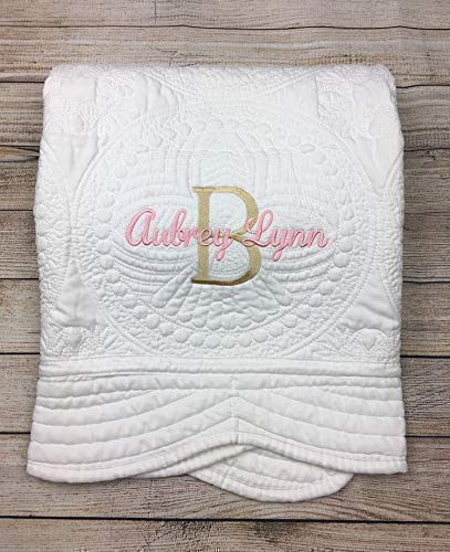 Handmade Quilted Baby Blanket - Personalized Baby Quilt, Blankets, Monogrammed Blankets for Kids, baby blankets for girls, embroidered baby gifts, soft for toddler girl or boy, Crib size