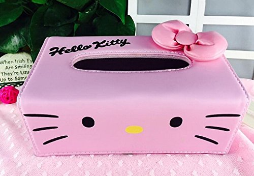 Hello Kitty Bow-knot Pink PU Leather Tissue Box Holder Napkin Box Pumping Paper Box by Mochalight