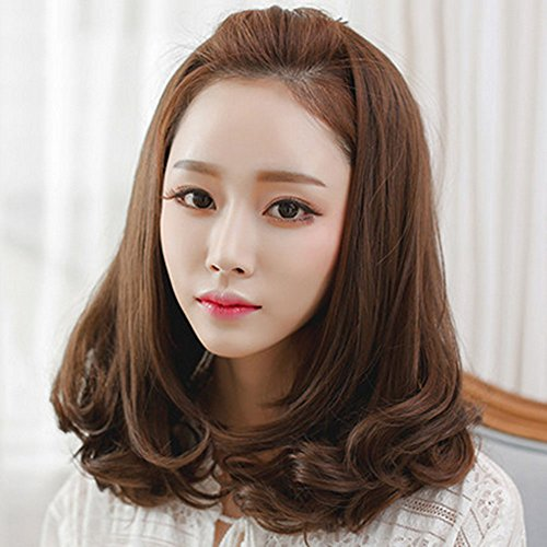 Spritech(TM) New Stylish Deep Brown Fluffy Realistic Half Head Wig Short Wavy Curly Hair Wig Fiber Synthetic Women Wig With Fine Hair Net