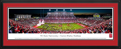 NC State Football - 50 Yard - Night  - Blakeway Panoramas College Sports Posters with Deluxe Frame (Nc State Football)