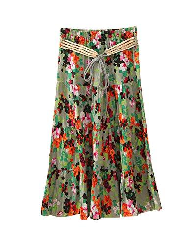 Taille Bohme Jupes Taille Casual lasticit Vacances Maxi 8 Plage Imprim Grande A Floral t Femme Swing Couleur Voyager lastique Line Jupes CzwSff