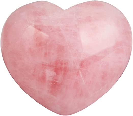 Natural Rose Quartz Heart Shaped Pink Crystal Carved Palm Love Healing Gemstone