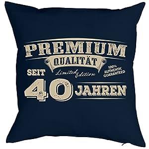 regalo de cumpleaños–Decoración de Ornamentales Cojín en azul marino (Incluye relleno): Premium Calidad desde 40años