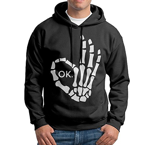 ACFUN Men's Halloween Skeleton Finger Hooded Sweatshirt Size XL -