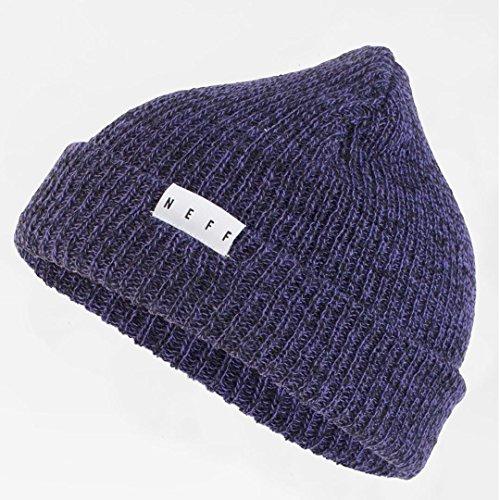 Purple Reversible Knit Beanie - neff Unisex-Adults Fold Heather Beanie Hat Cuffed, Purple/Black, One Size