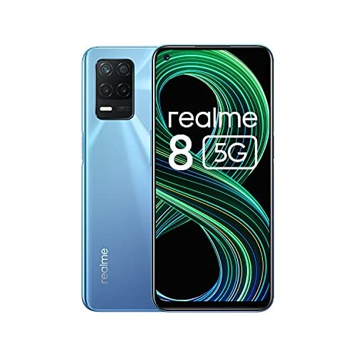 chollos oferta descuentos barato realme 8 5G Smartphone Libre Procesador Dimensity 700 5G Pantalla Ultra Smooth de 90Hz batería masiva de 5000m cámara con 48MP y modo nocturno Dual Sim NFC 6 128GB Azul