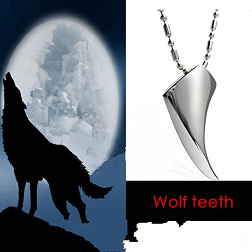 AIUIN Men/'s Leather Necklace with Stainless Steel Pendant Wolf Tooth Shape Silver,with a Jewelry Bag