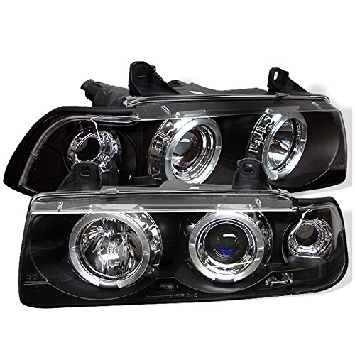 For BMW E36 3 Series 2 Doors Coupe Black Bezel Dual Halo Ring Projector Headlights Lamps Left + - Projector Bmw Halo 98 E36