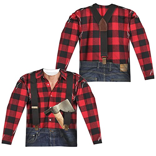 Lumberjack Costume Unisex Adult Long-Sleeve Sublimated T Shirt for Men and Women