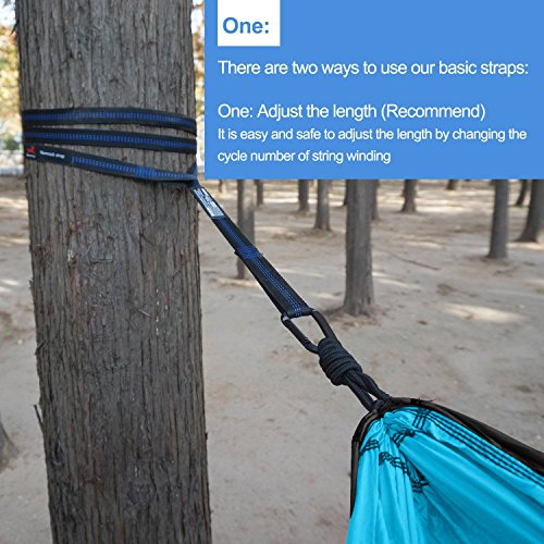 HONEST OUTFITTERS Single Camping Hammock with Basic Hammock Tree Straps,Portable Parachute Nylon Hammock for Backpacking Travel Grey/Blue 55″ W x 108″ L
