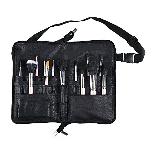 BestFire Professional Makeup Brush Bag Case Portable 22 Pockets Cosmetic Brush Holder Organizer with Artist Belt Strap PU Leather Brushes Not Included