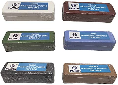 PURUI 100g Polishing Buffing Compound Kit 6PC-Kit Includes:Black Emery,General Green,White,Brown Tripoli,All Purpose Blue & Red Rouge Compounds