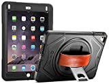 iPad 9.7 2017 case - iPad Air case New Trent Full-body Rugged Protective Case with 360 Degree Rotatable Hand Strap Built-in Screen Protector & Kickstand Design for Apple iPad 9.7 inch 2017