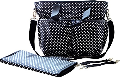 - Diaper Bag for Stylish Moms, Mashine Washable, Premium Nylon Tote Bag, 13 pockets Including Insulated Bottle Holders, by MommyDaddy&Me, Black/White Dots