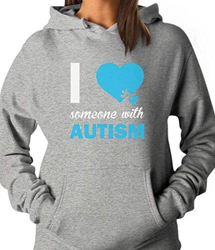 Tstars - Autism Awareness - I Love Someone with Autism Women Hoodie Large Gray
