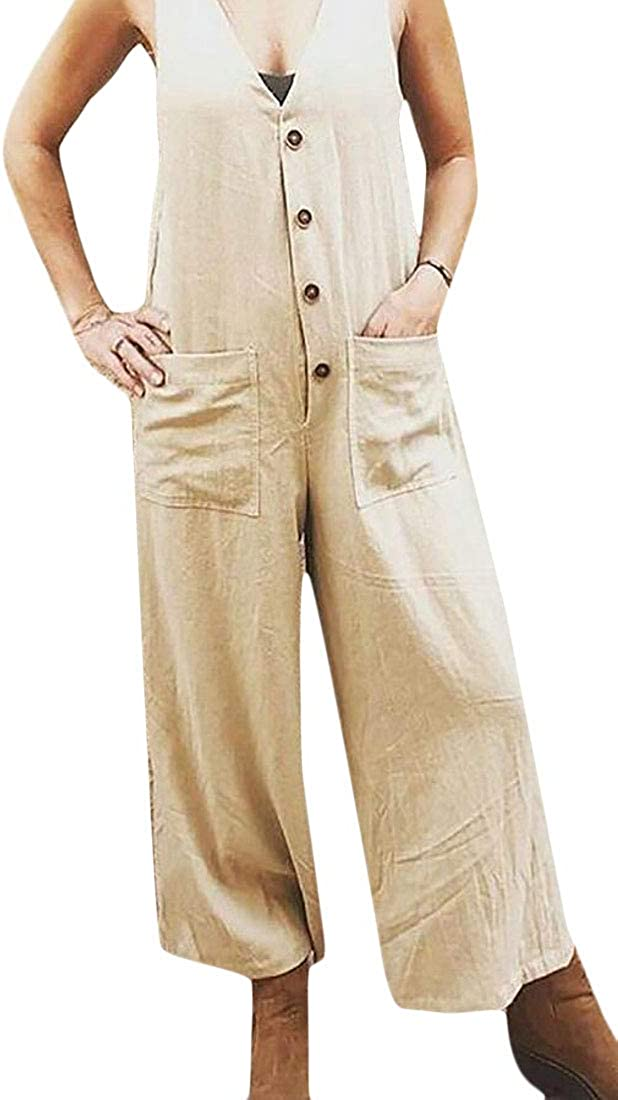 Rrive Womens Cotton Linen Button Up Casual V-Neck Loose Fit Jumpsuit Romper with Pockets