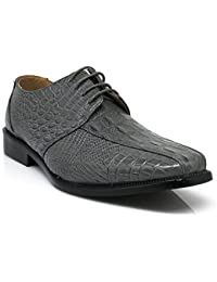 Gator3N Men's Alligator Crocodile Print Oxfords Fashion Lace Up Dress Shoes