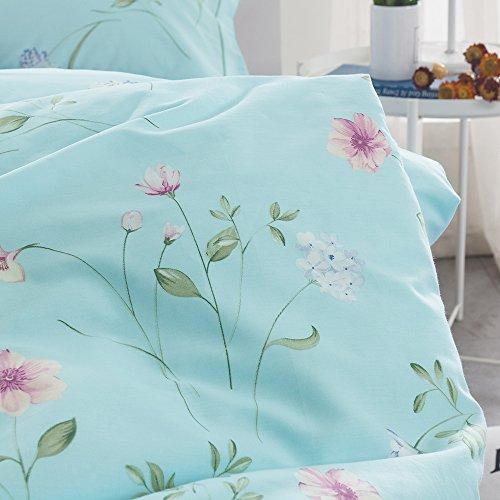 OTOB Floral Bedding Duvet Cover Queen Set for Teen Kids Girl Flower Print Bedding Sets Full Size Cotton 100 Blue, Reversible Lightweight Soft by OTOB (Image #4)