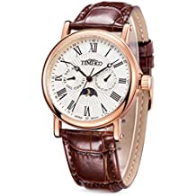 Time100 Men's Leather Strap Roman Numerals Watch Business Fashion Multifunctional Three Dial Waterproof Wrist Quartz Watches with Day/Night indicator
