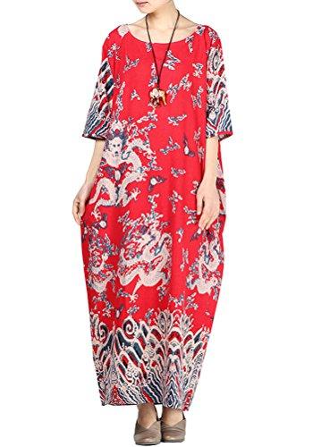 Minibee Women's Dragon Print Pattern Clothing Red-half sleeve, Red-half sleeve, One Size