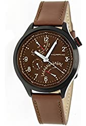 Morphic Men's 'M44 Series Dual Time Zone Strap Date' Quartz Stainless Steel and Leather Watch, Color:Brown (Model: MPH4403)