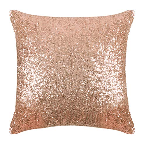 PONY DANCE Sequins Pillow Cover – Durable Solid Sequin Fabric Throw Cushion Cover Bling Square Sofa Pillowcase with…