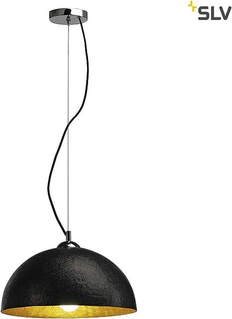 Esstischleuchte Edle dimmbare Deckenleuchte mit TEXTIL Schirm in schwarz//gold