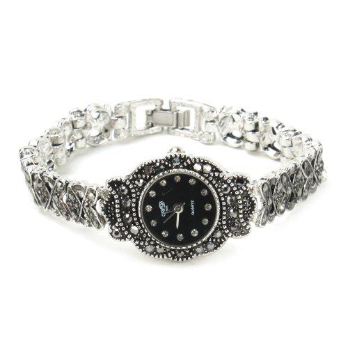 YESURPRISE Alloy Rhinestone Round Dial Lady Quartz Bracelet Watch Black-Silver Band
