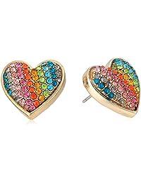 Betsey Johnson Womens Rainbow Pave Heart Stud Earrings
