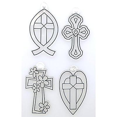 Kelly's Crafts Acrylic Suncatchers, 4 Crosses, Heart, Fish, Scalloped, Flowers, 4 Piece