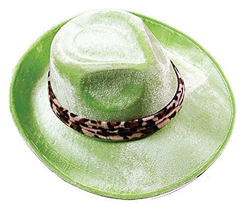 Leopard Pimp Hat (UHC Pimp Lime Velour Hat w/ Leopard Band Halloween Costume Accessory)
