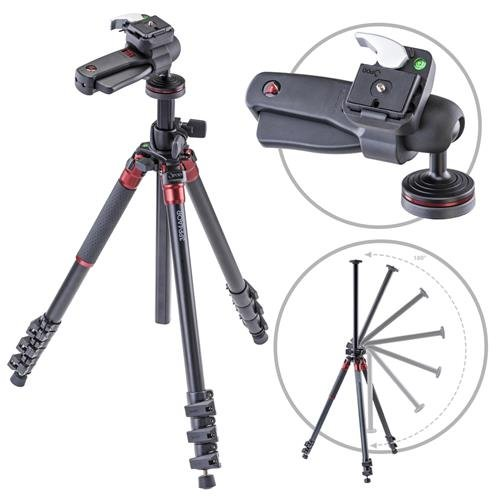 3Pod Orbit Aluminum Tripod for DSLR Photo & Video Cameras, 4 Section Extension Legs, with Pistol Grip Ballhead, Bubble Level, with Bag. 69''