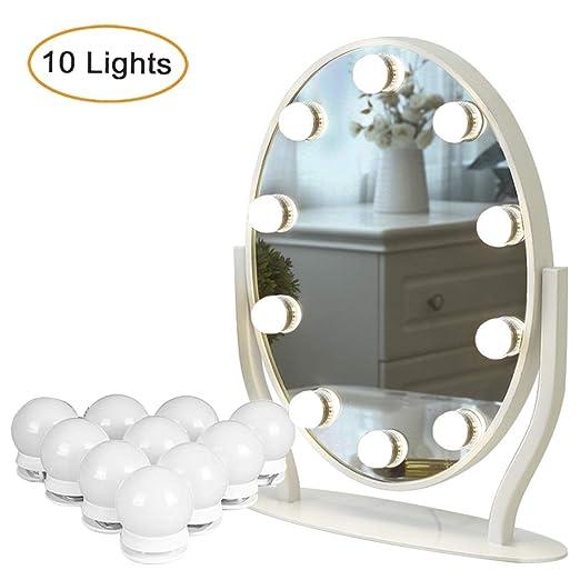 Luposwiten Luces de Espejo de Tocador, Luces Espejo LED con10 Bombillas Regulables, Luces Tocador