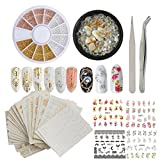 #2: Gold Silver Nail Art Decoration Sticker, 3D Mixed Glass Resin Crystal Clear Rhinestones Stone, Gold Nail Beads wheel, Self-adhesive Water Transfer Stickers Decals Nail Jewelry Accessories (Bi012A)