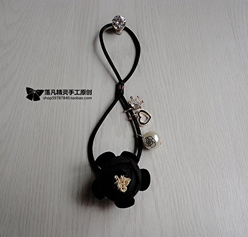 - usongs Exclusive original high-end hair accessories handmade cloth black flower hair rope hair beautiful white stone diamond ring rubber band