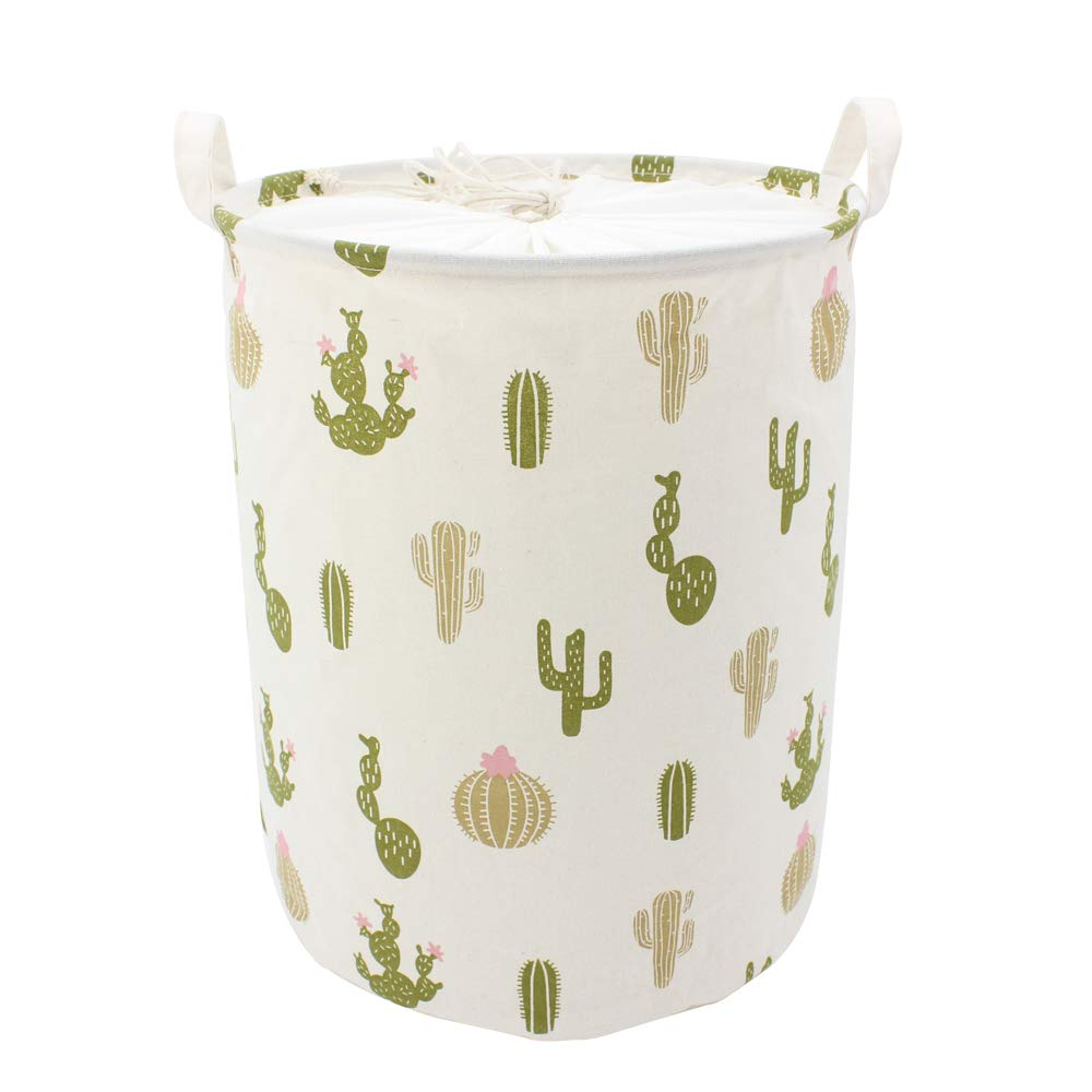 Homele Cute Cactus Collapsible Laundry Basket Hamper with Drawstring Cover, Cotton Foldable Toy Storage Bin Storage Basket Organizer for Kids Baby Room, College Dorm, Nursery, Closet, Bedroom (Green)