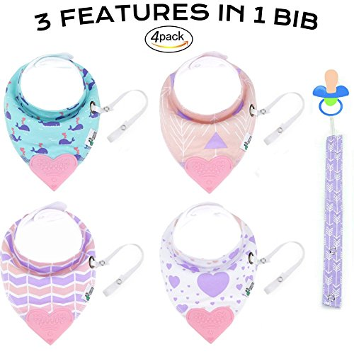 Tickles & Wiggles Organic Cotton Bandana Baby Bibs for Teething, Drool, Food - Shower Registry Gifts for Infants, BPA Free Silicone Teether, Adjustable Nickel-Free Snaps, Pacifier Tether (4 Pack Pink)