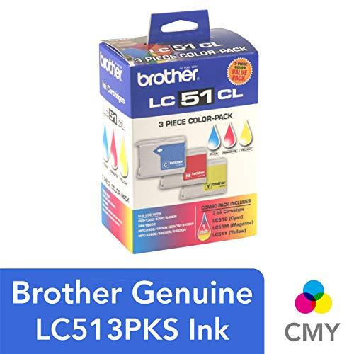 - Brother Genuine Standard Yield 3 Pack Color Ink Cartridges, LC513PKS, Includes 1 Cartridge Each of Cyan, Magenta & Yellow, Page Yield Up To 400 Pages/Cartridge, Amazon Dash Replenishment Cartridge, LC51