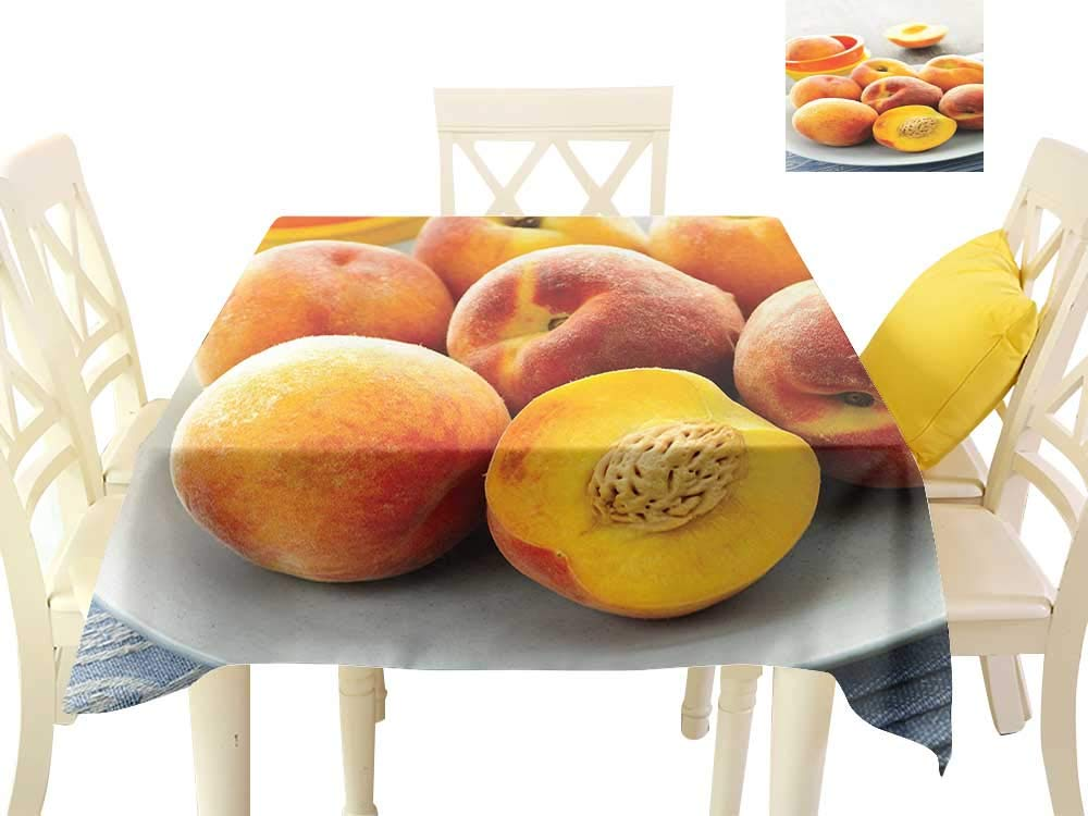 Dustproof Square Tablecloth Peach Horticultural Crops All Delicious and Fresh Served on a Plate Sliced and Ready to Eat W70 xL70 Suitable for Buffet Table, Parties, Wedding