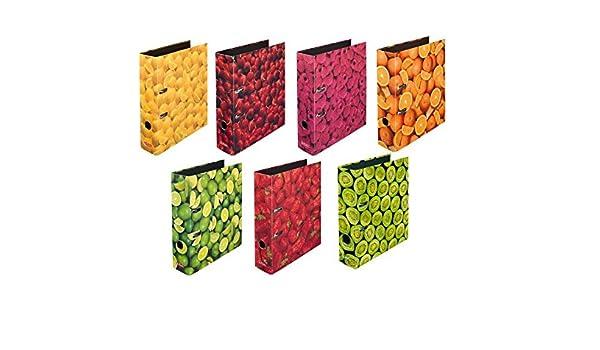 Herlitz - Carpetas archivadoras con motivos de frutas (7 unidades, tamaño DIN A4, 8 cm de ancho): Amazon.es: Oficina y papelería