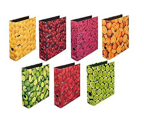 Herlitz - Carpetas archivadoras con motivos de frutas (7 unidades, tamaño DIN A4,