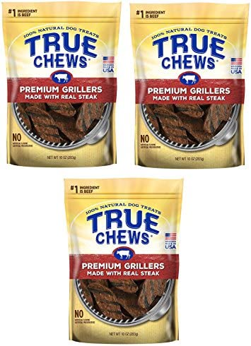 True Chews Dog Treats Premium Grillers Steak Jerky 10oz Made in USA 3 Packs